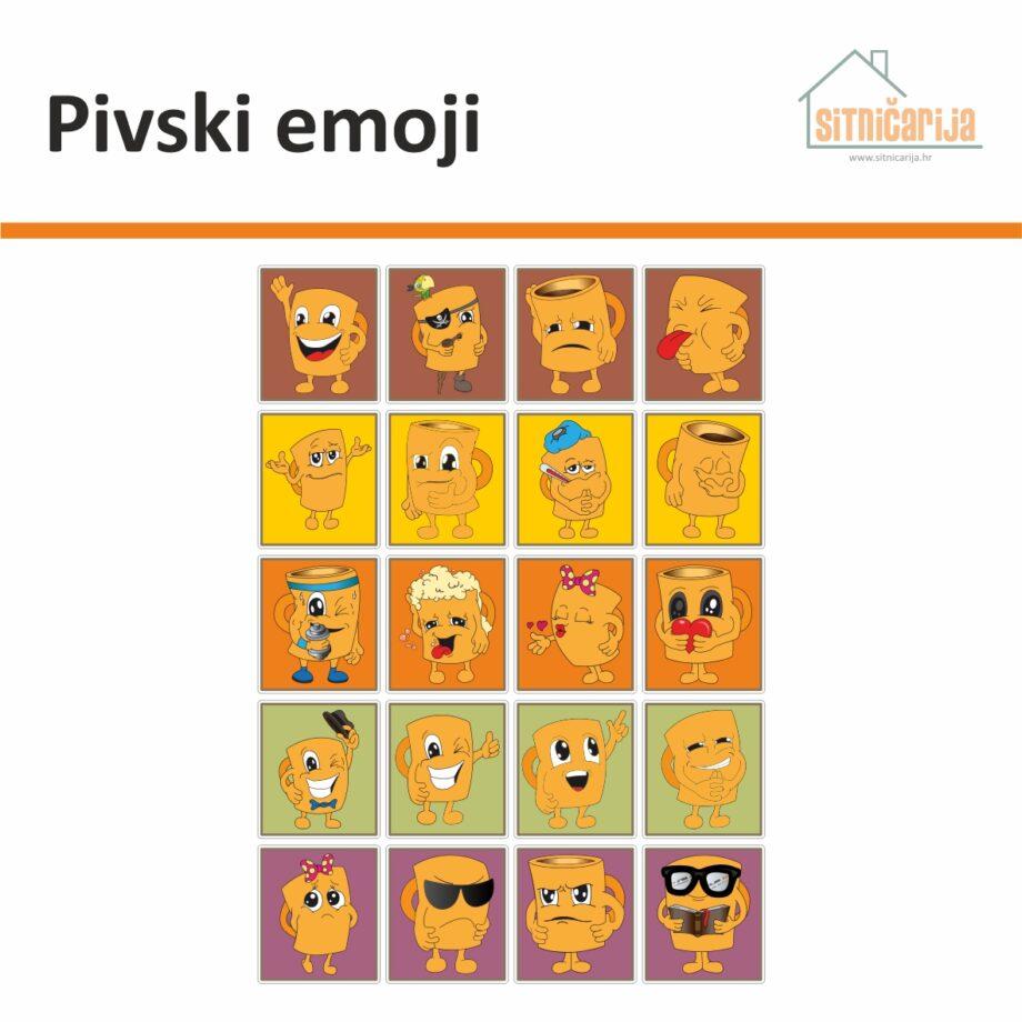 Male naljepnice za sve i svašta - Pivski emoji, set od 20 naljepnica u obliku krigla piva različitih emocija