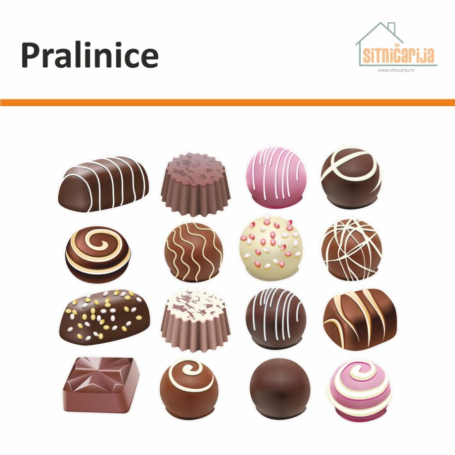Male naljepnice za sve i svašta - Pralinice, set od 32 naljepnice u obliku čokoladnih pralina