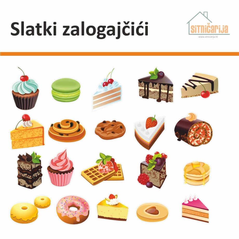 Male naljepnice za sve i svašta - Slatki zalogajčići, set od 20 naljepnica u obliku kolača, torti i peciva