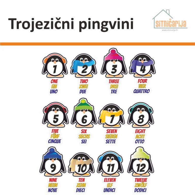 Male naljepnice za sve i svašta - Trojezični pingvini, set od 12 naljepnica u obliku pingvina s nazivima brojeva na 3 strana jezika