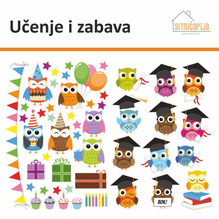 Male naljepnice za sve i svašta - Učenje i zabava, set od 48 naljepnica u obliku sova koje uče ili slave rođendan