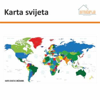 Naljepnica za zid s kartom svijeta i ucrtanim državama na engleskom jeziku