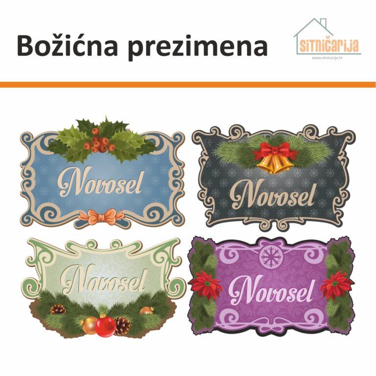 Naljepnice za blagdane - Božićna prezimena, serija od 4 zasebne naljepnice za vrata različitih boja s božićnim dekoracijama