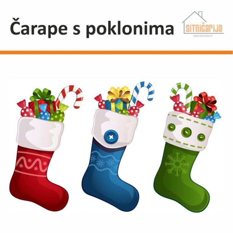 Naljepnice za blagdane - Čarape s poklonima, set od 3 naljepnice u obliku crvene, zelene ili plave čarape ispunjene poklonima
