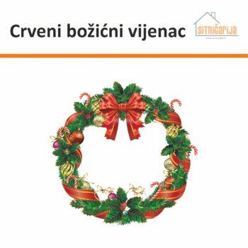 Naljepnice za blagdane u obliku božićnog vijenca s crvenim i zlatnim dekoracijama koja se lijepi na vrata