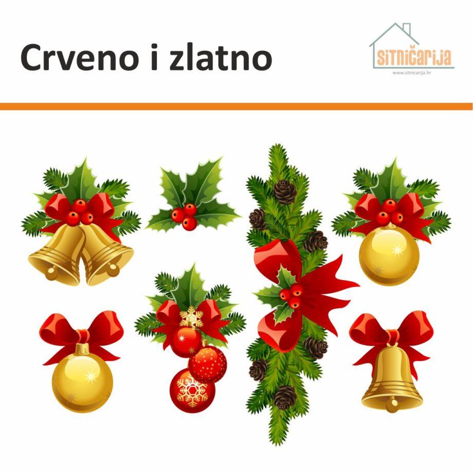 Naljepnice za blagdane u obliku 7 božićnih aranžmana u crvenim i zlatnim tonovima, lijepe se na prozor