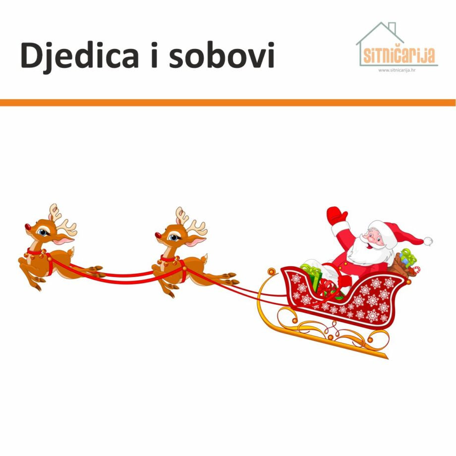 Naljepnica s blagdane sa slikom Djedama Mraza na sanjkama koje vuku sobovi; lijepi se na prozor