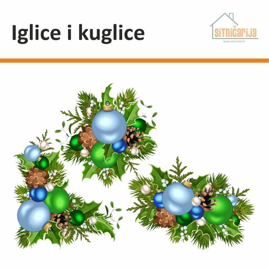 Naljepnice za blagdane; set od 3 naljepnice za prozore u obliku božićnih aranžmana ukrašenih plavim i zelenim kuglicama
