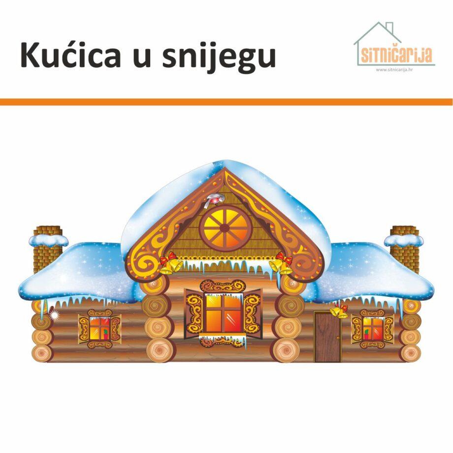 Naljepnica za blagdane u obliku planinske drvene kućice prekrivene snijegom, lijepi se na prozor