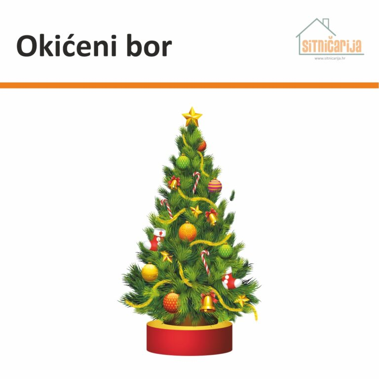 Naljepnica za blagdane - Okićeni bor u obliku bora okićenog zlatnim i crvenim dekoracijama
