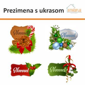 Naljepnice za blagdane koje se lijepe na vrata. 4 zasebne naljepnice na kojima piše prezime ukrašeno božićnim dekoracijama