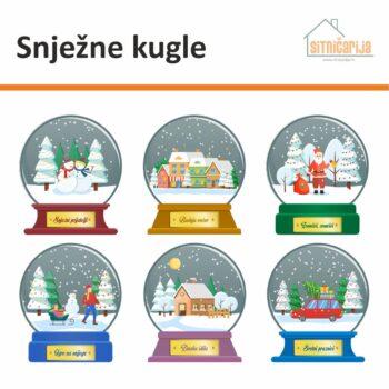 Naljepnice za blagdane, set od 6 snježnih kugli koje se lijepe na prozore