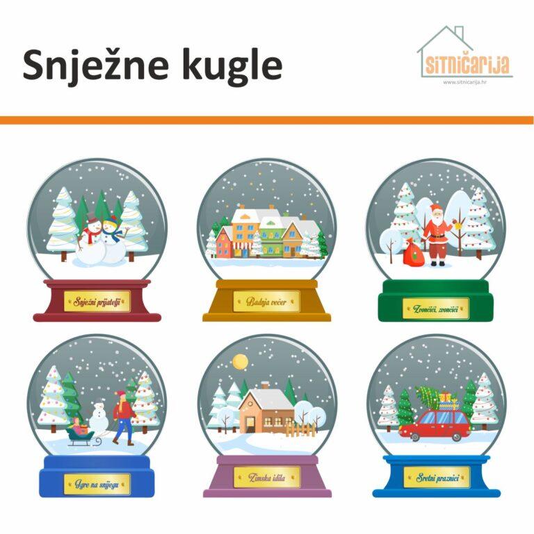 Naljepnice za blagdane - Snježne kugle, set od 6 snježnih kugli koje u sebi kriju idilične božićne prizore; lijepe se na prozore
