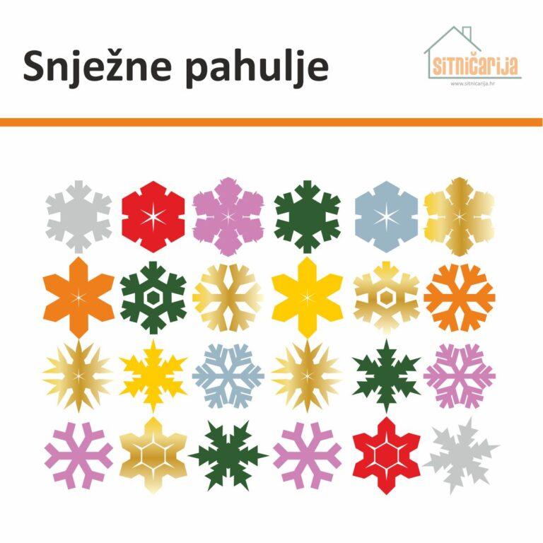 Naljepnice za blagdane - Snježne pahulje; set od 24 pahulje raznih boja koje se lijepe na prozore
