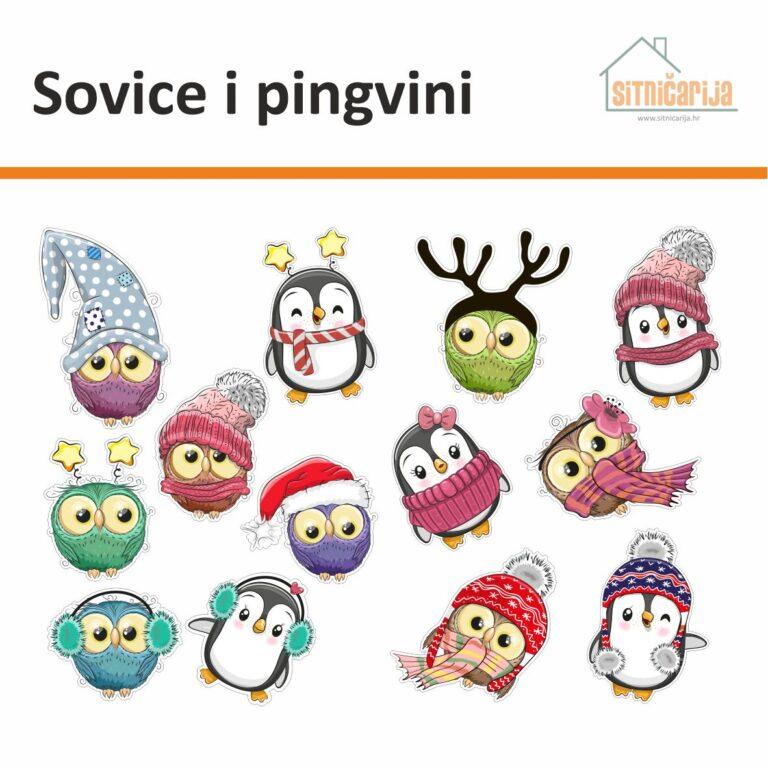 Naljepnice za blagdane - Sovice i pingvini s likovima malih sova i pingvina s kapama i šalovima, set od 13 naljepnica za prozore