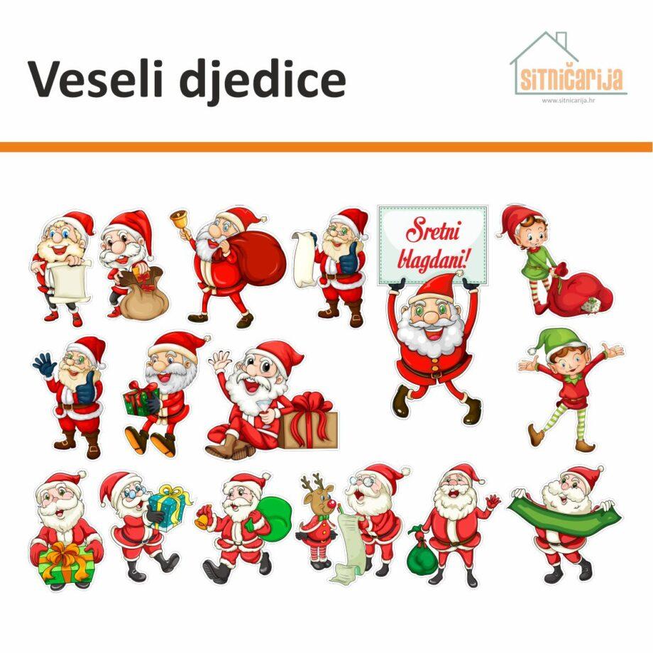 Naljepnice za blagdane - Veseli djedice; set od 16 naljepnica za prozore s likovima Djeda Božićnjaka i njegovih pomagača - vilenjaka