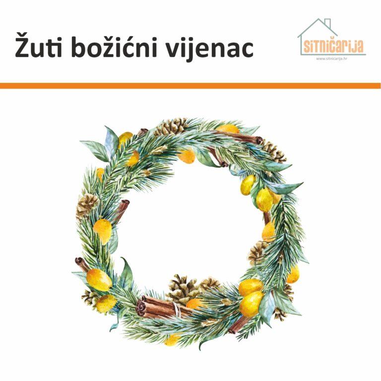 Naljepnica za blagdane - Žuti božićni vijenac u obliku božićnog vijenca ukrašenog limunima i cimetom koja se lijepi na vrata