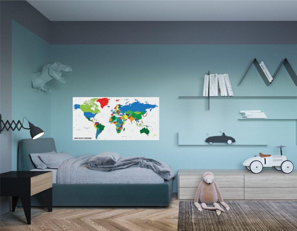 Naljepnica za zid - Karta svijeta na zidu dječje sobe