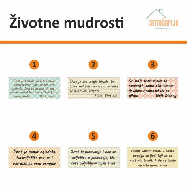 Motivacijske naljepnice - Životne mudrosti; serija od 6 citata svaki napisan malim pisanim fontom na pozadini pastelne boje s uzorkom