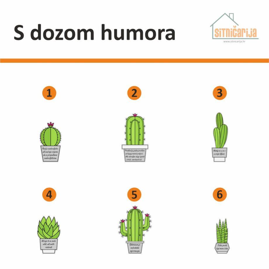 Motivacijske naljepnice- S dozom humora, set od 6 naljepnica u obliku kaktusa s duhovitim izrekama