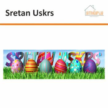 Naljepnica za blagdane - Sretan Uskrs; uskršnja jaja u travi s natpisom Sretan Uskrs iznad njih