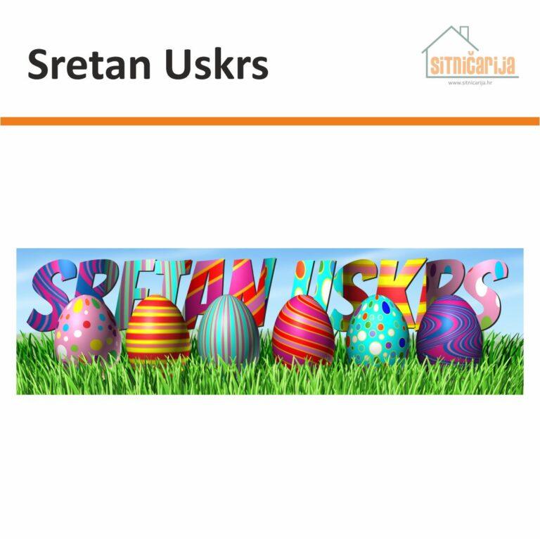 Naljepnica za blagdane - Sretan Uskrs; 6 šarenih uskršnjih jaja poredanih u travi s sa šarenim natpisom Sretan Uskrs iznad njih