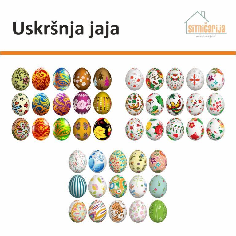 Naljepnice za blagdane - Uskršnja jaja; set od 45 naljepnica u obliku pisanica različitih uzoraka i boja