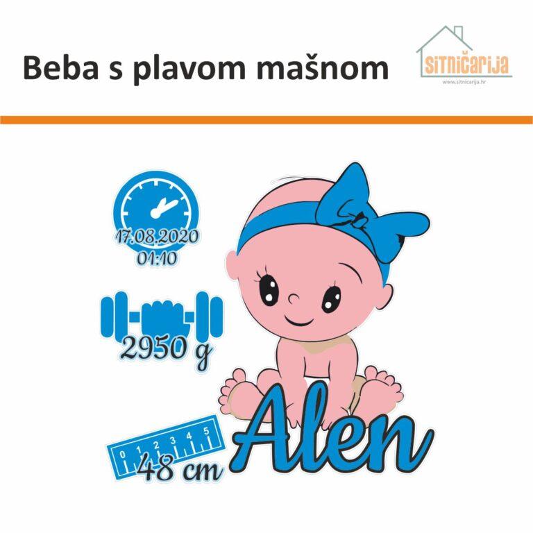 Naljepnica za rođenje djeteta - Beba s plavom mašnom; serija od 4 naljepnice: beba s plavom mašnom i ime djeteta, plavi sat s datumom i vremenom rođenja, plavi uteg s težinom i plavi metar s veličinom djeteta pri rođenju