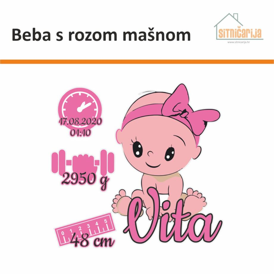 Naljepnica za rođenje djeteta - Beba s rozom mašnom; serija od 4 naljepnice: beba s rozom mašnom i ime djeteta, rozi sat s datumom i vremenom rođenja, ružičasti uteg s težinom i ružičasti metar s veličinom djeteta pri rođenju