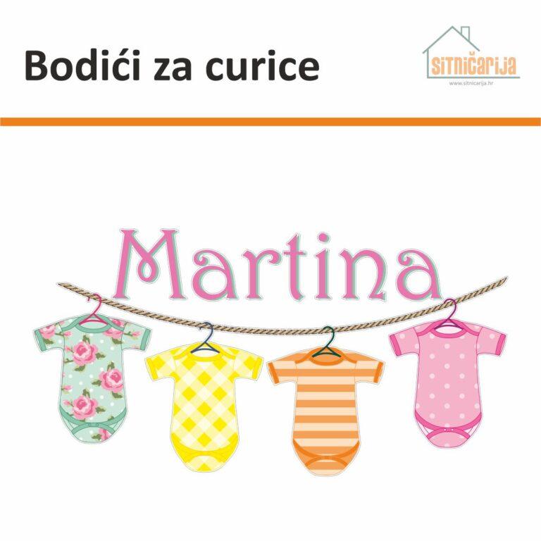 Naljepnica za rođenje djeteta - Bodići za curice predstavlja uže na kojem vise 4 bodića u bojama i ime curice u rozoj boji iznad njih