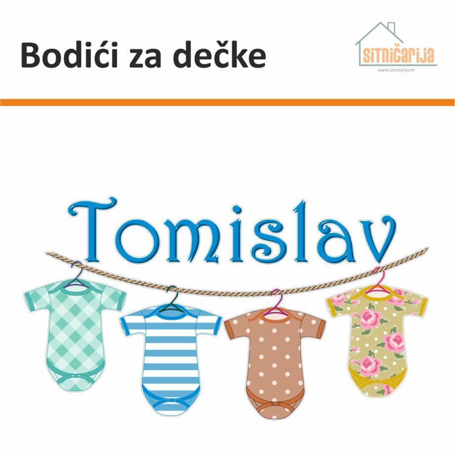 Naljepnica za rođenje djeteta - Bodići za dečke predstavlja uže na kojem vise 4 bodića u bojama i ime dečka u plavoj boji iznad njih