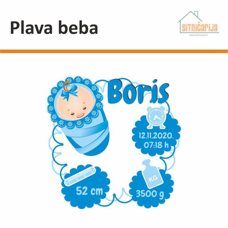 Naljepnica za rođenje djeteta - Plava beba; ime djeteta uz ilustraciju novorođenčeta u jastuku i s podacima pri rođenju u plavim oblačićima