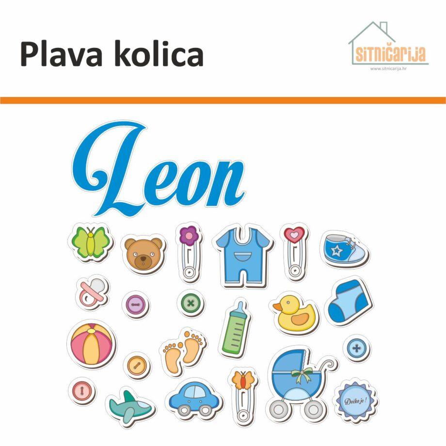 Naljepnica za rođenje djeteta - Plava kolica; set od 24 naljepnice koji čine djetetovo ime i predmeti za bebe