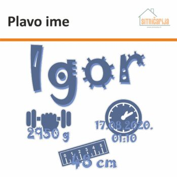 Naljepnica za rođenje djeteta - Plavo ime; serija od 4 naljepnice s imenom djeteta, datumom i satom rođenje, veličinom i težinom, sve u plavim tonovima