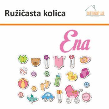 Naljepnica za rođenje djeteta - Ružičasta kolica; set od 24 naljepnice koji čine djetetovo ime i predmeti za bebe