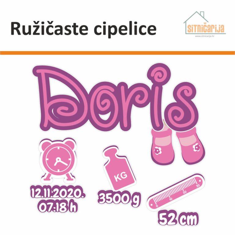 Naljepnice za rođenje djeteta - Ružičaste cipelice; serija od 5 naljepnica u ružičastim tonovima; ime djeteta s cipelicama kao ukras, sat s datumom i vremenom rođenja, uteg s težinom i metar s veličinom djeteta