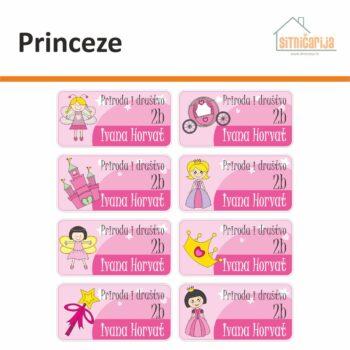 Naljepnice za knjige i bilježnice - Princeze; serija od 8 naljepnica u različitim nijansama roze boje. Na 4 su princeze, a na ostale 4 dvorac, kočija, kruna i čarobni štapić.