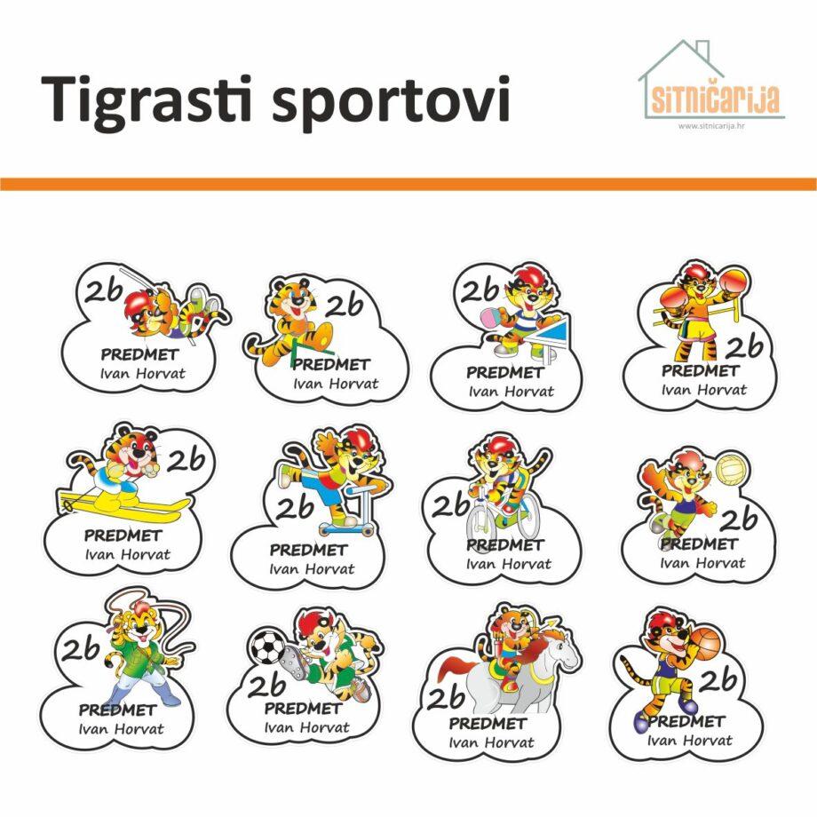 Naljepnice za knjige i bilježnice - Tigrasti sportovi; serija od 12 naljepnica - na svakoj je tigar koji se bavi drugim sportom; naljepnice su nepravilnog oblika koji prati oblik tigra i njegove aktivnosti